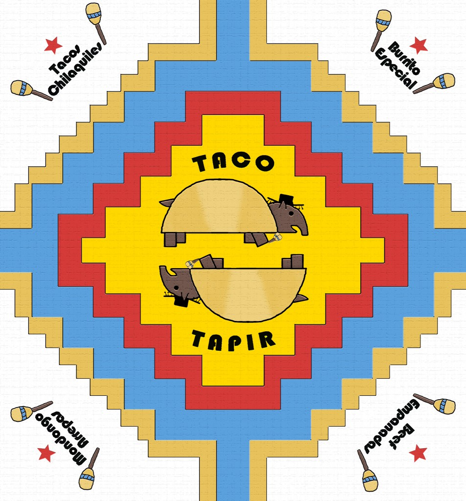 The final wrapper design: An Incan-inspired cross, the double tapir, Bauhaus font (which works, in a strangely Tex-Mex-esque way), the Maracas, and of course a star.