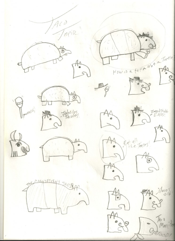 Images from the creation of Taco Tapir, including many of the failed mustaches of Taco Tapir.